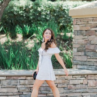 Cute Striped Dress with a Bow styled by popular Orange County fashion blogger, Maxie Elle