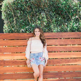 Maxie Elle   Embroidered Denim Skirt - Embroidered Denim featured by popular Orange County fashion blogger, Maxie Elle
