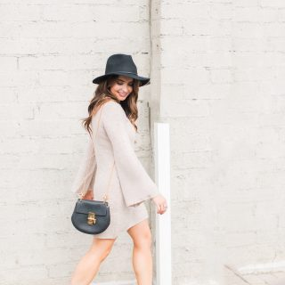 Maxie Elle | Neutral sweater dress with black hat and black booties - Wedding Skin Care Routine by popular Orange County style blogger Maxie Elle
