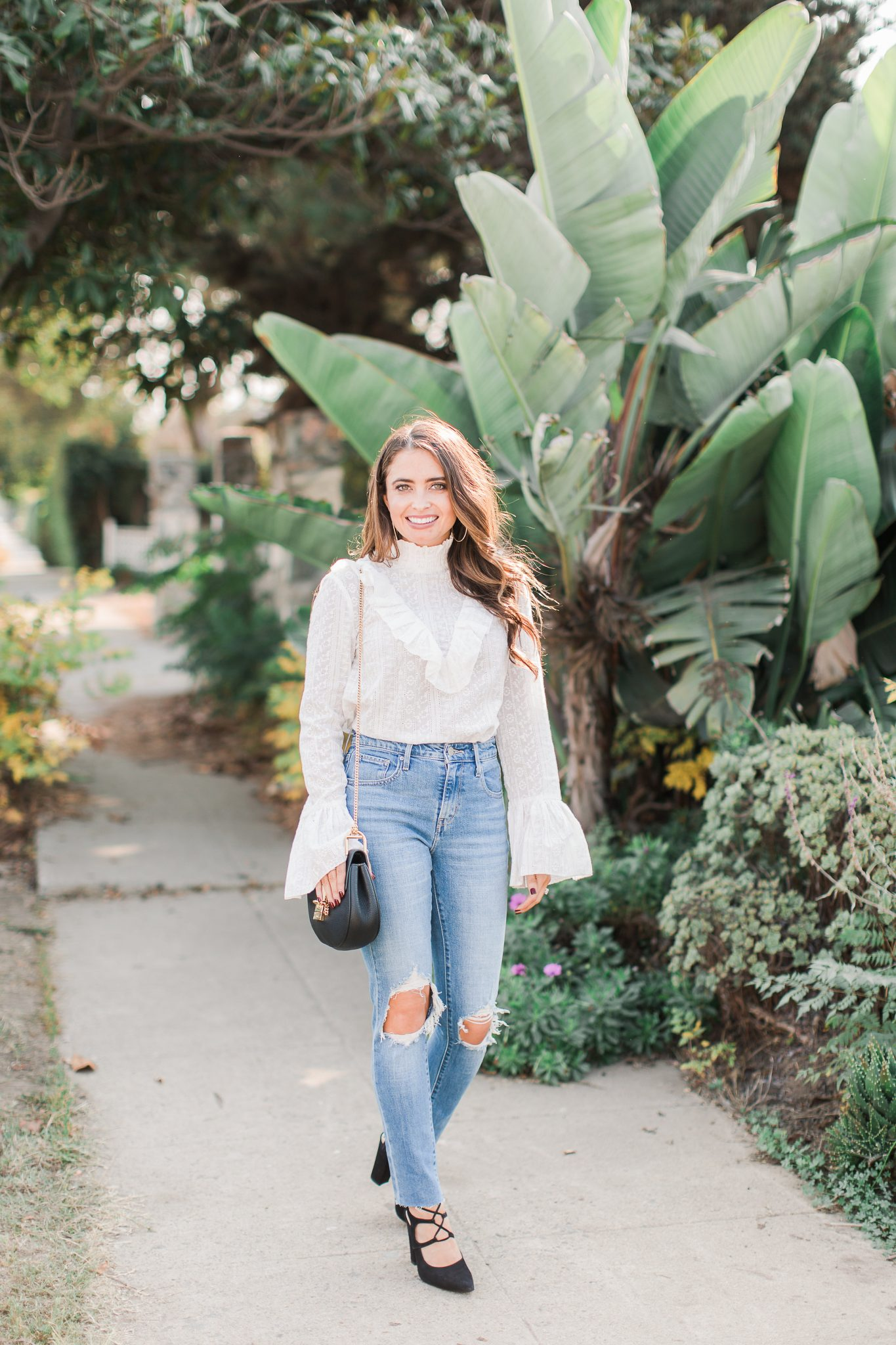 Maxie Elle | White lace top & distressed denim - New Year Resolutions by popular Orange County blogger Maxie Elise