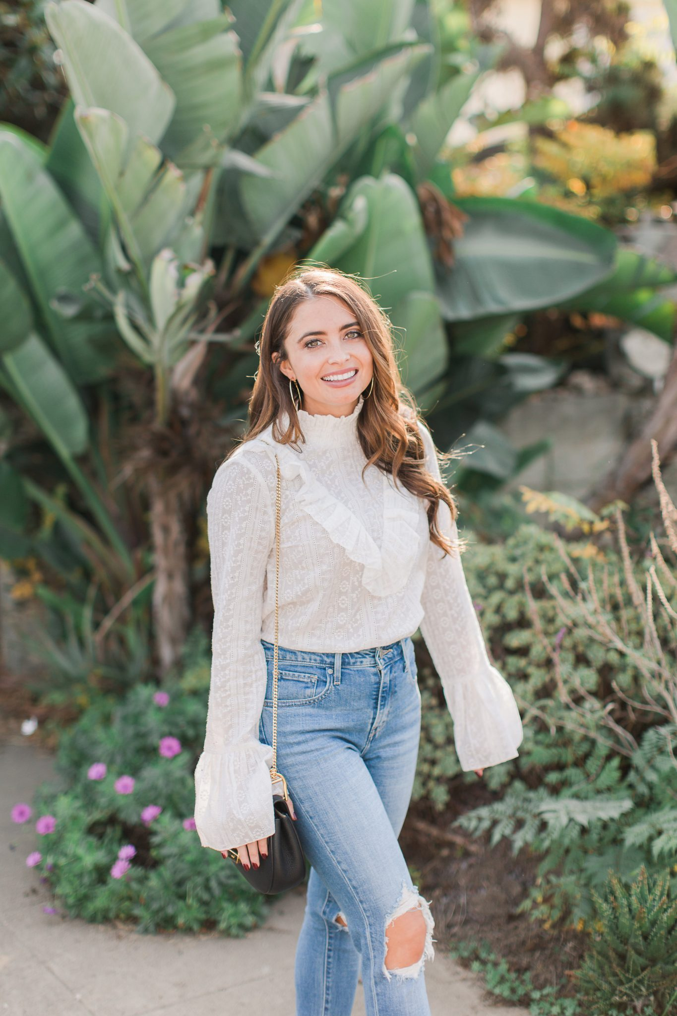 Maxie Elise | White lace top & distressed denim -New Year Resolutions by popular Orange County blogger Maxie Elise