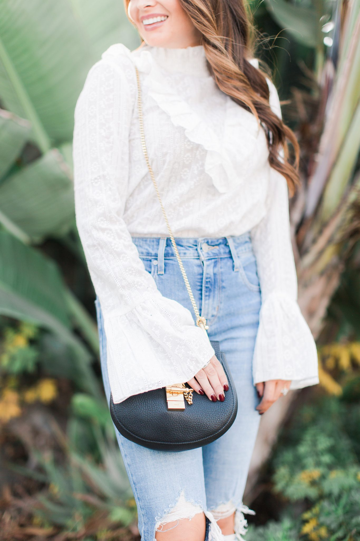Maxie Elise | White lace top & distressed denim - New Year Resolutions by popular Orange County blogger Maxie Elise