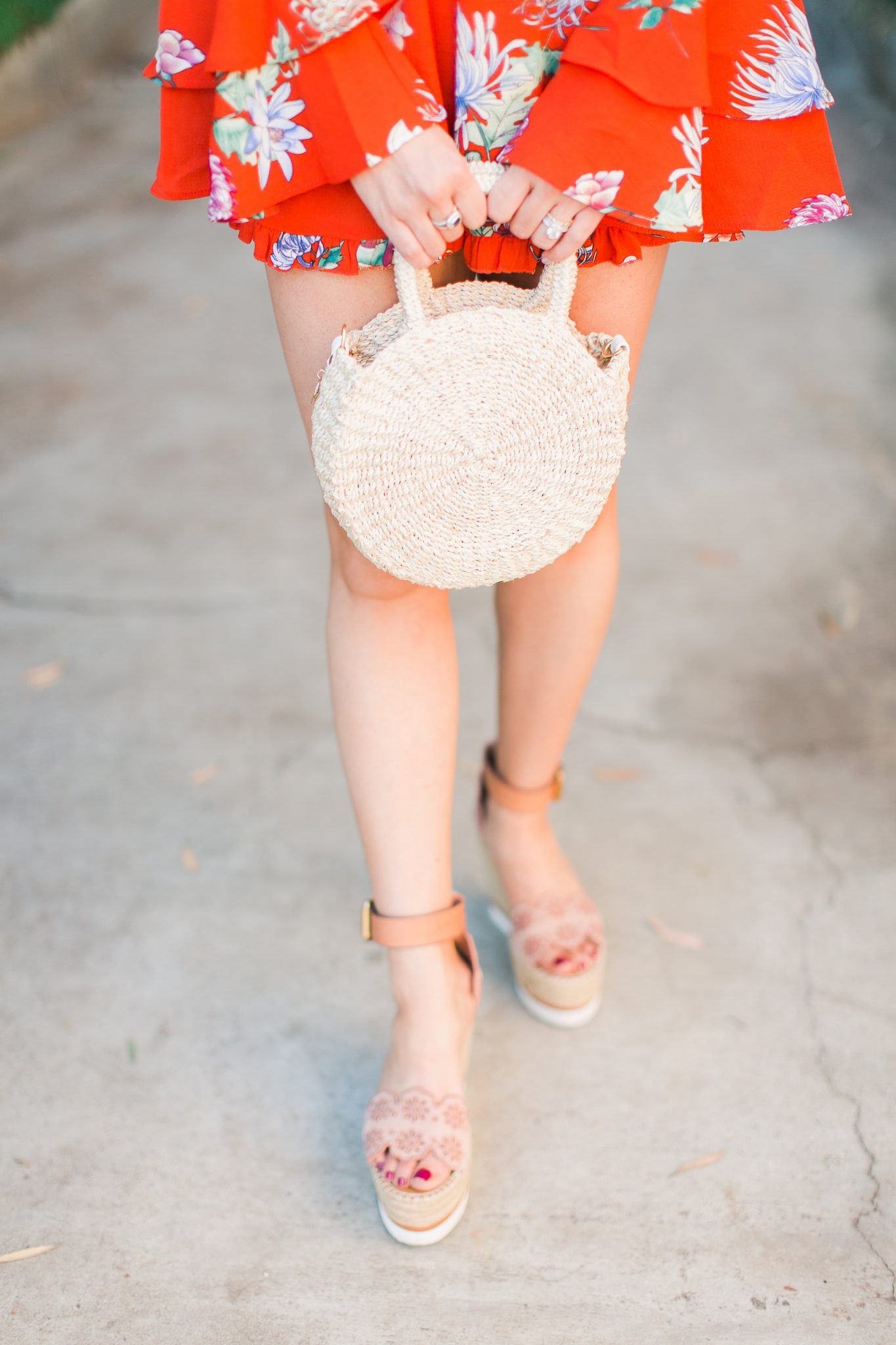 Clare V Petite Alice Bag and Chloe Espadrille Wedges - 3 Ways to Incorporate Florals Into Your Spring Wardrobe featured by popular Orange County fashion blogger, Maxie Elle