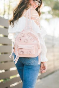 pink flower backpack - 3 Ways to Incorporate Florals Into Your Spring Wardrobe featured by popular Orange County fashion blogger, Maxie Elle