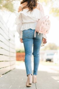 pink flower backpack and denim - 3 Ways to Incorporate Florals Into Your Spring Wardrobe featured by popular Orange County fashion blogger, Maxie Elle
