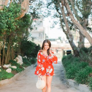 red floral romper with wedges and straw bag - 3 Ways to Incorporate Florals Into Your Spring Wardrobe featured by popular Orange County fashion blogger, Maxie Elle