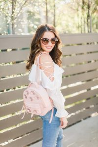pink flower backpack and Prada sunglasses - 3 Ways to Incorporate Florals Into Your Spring Wardrobe featured by popular Orange County fashion blogger, Maxie Elle