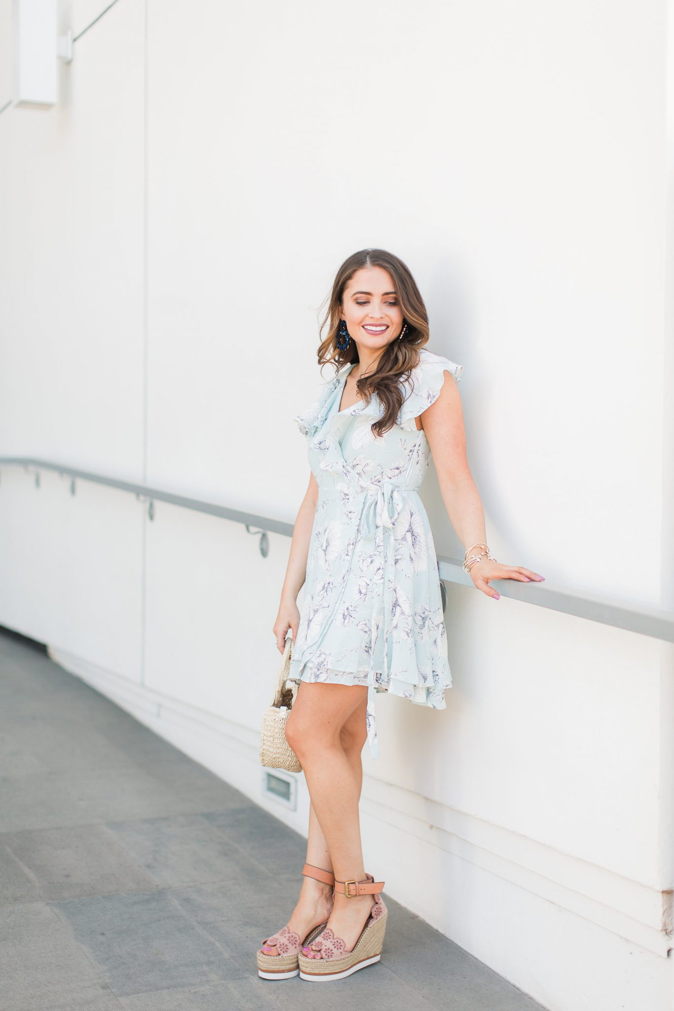 Blue floral wrap dress and espadrille wedges - My Favorite Cute Easter Dresses by popular Orange County fashion blogger Maxie Elise