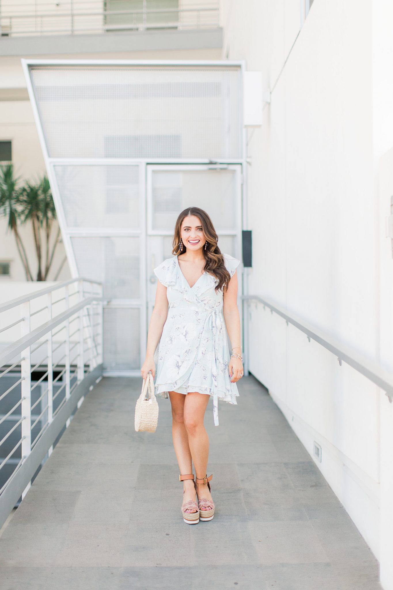 Blue floral wrap dress - My Favorite Cute Easter Dresses by popular Orange County fashion blogger Maxie Elise