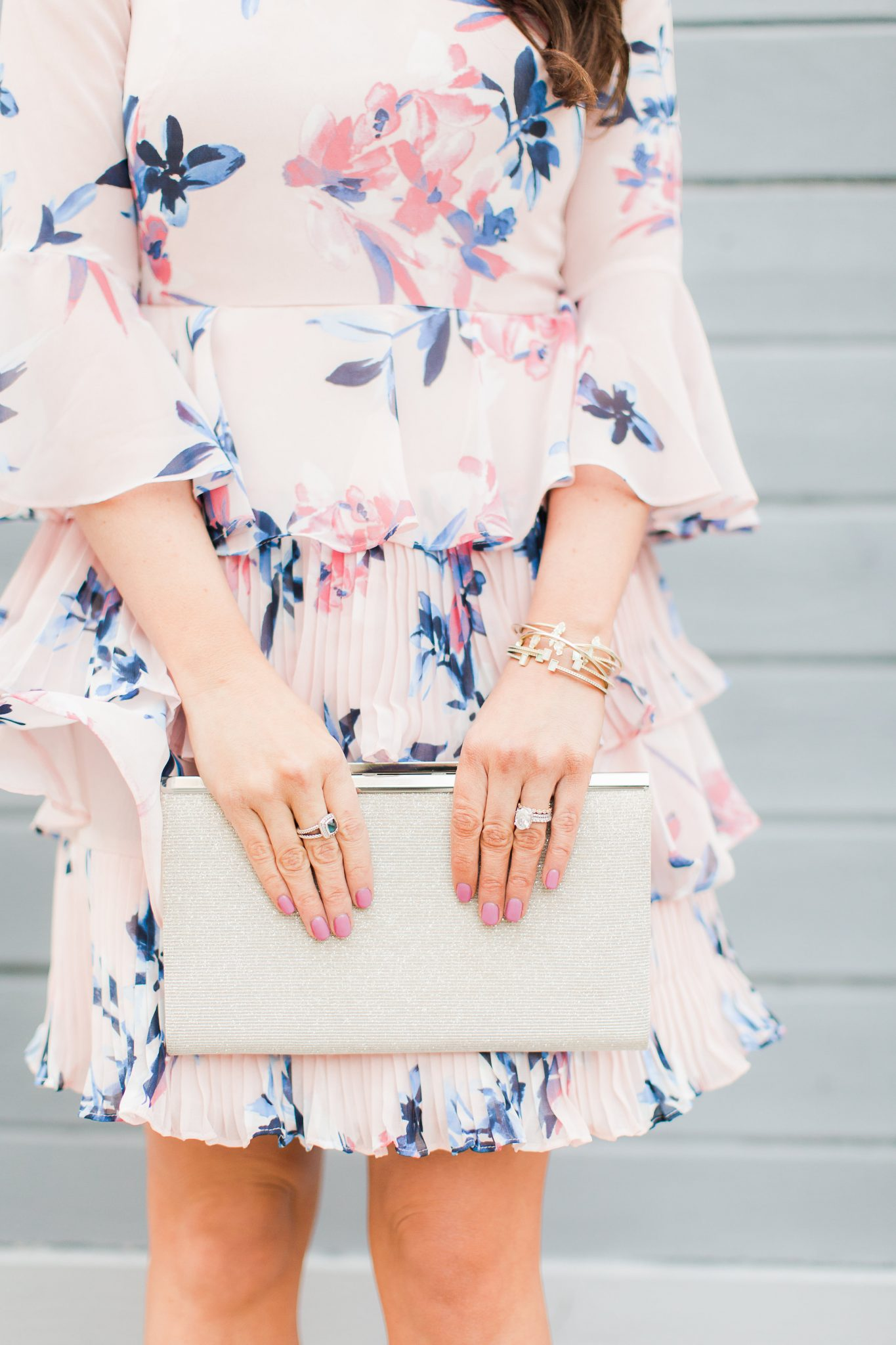Pink floral pleated dress - My Favorite Cute Easter Dresses by popular Orange County fashion blogger Maxie Elise