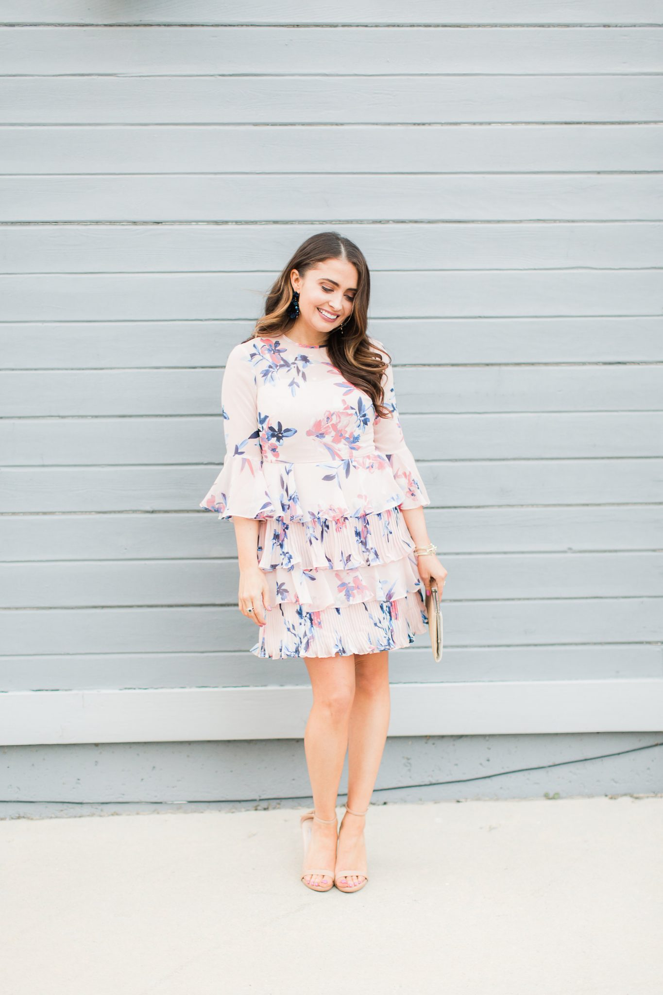 Pink floral ruffle dress - My Favorite Cute Easter Dresses by popular Orange County fashion blogger Maxie Elise
