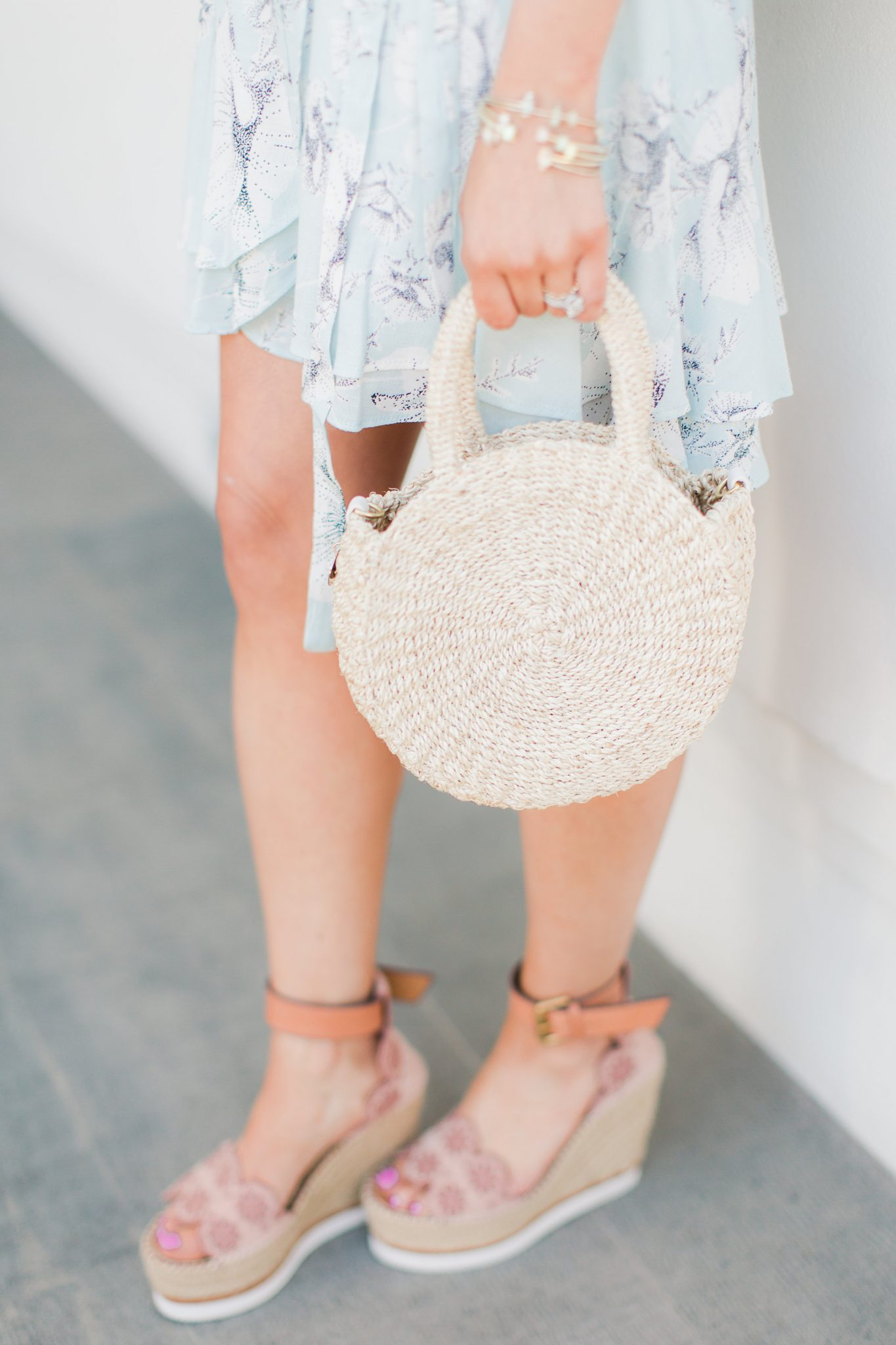 Round straw bag and espadrille wedges - My Favorite Cute Easter Dresses by popular Orange County fashion blogger Maxie Elise