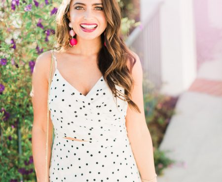 Black and white Polka dot crop top - Polka Dot Clothing styled by popular Orange County fashion blogger, Maxie Elle