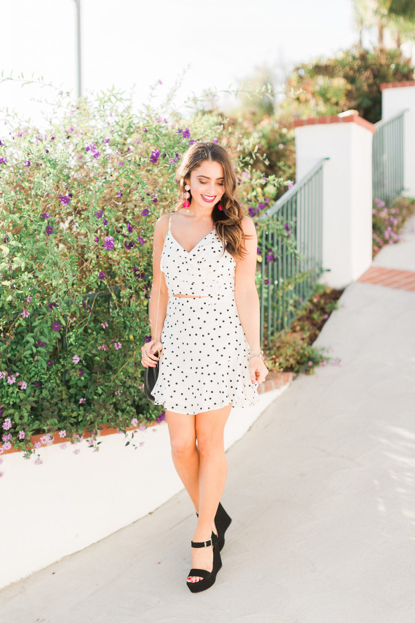 Lush Clothing Polka Dot Set - Polka Dot Clothing styled by popular Orange County fashion blogger, Maxie Elle