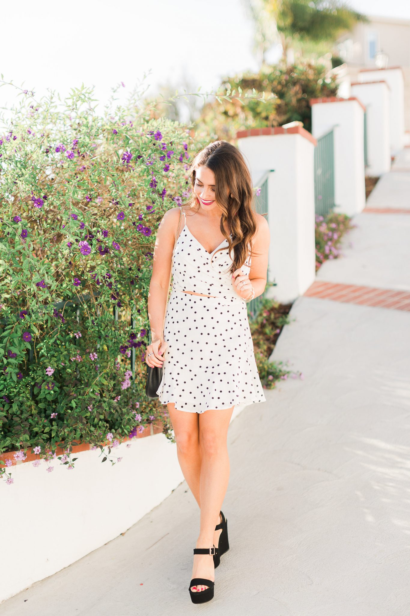 black and white polka dot skirt - Polka Dot Clothing styled by popular Orange County fashion blogger, Maxie Elle