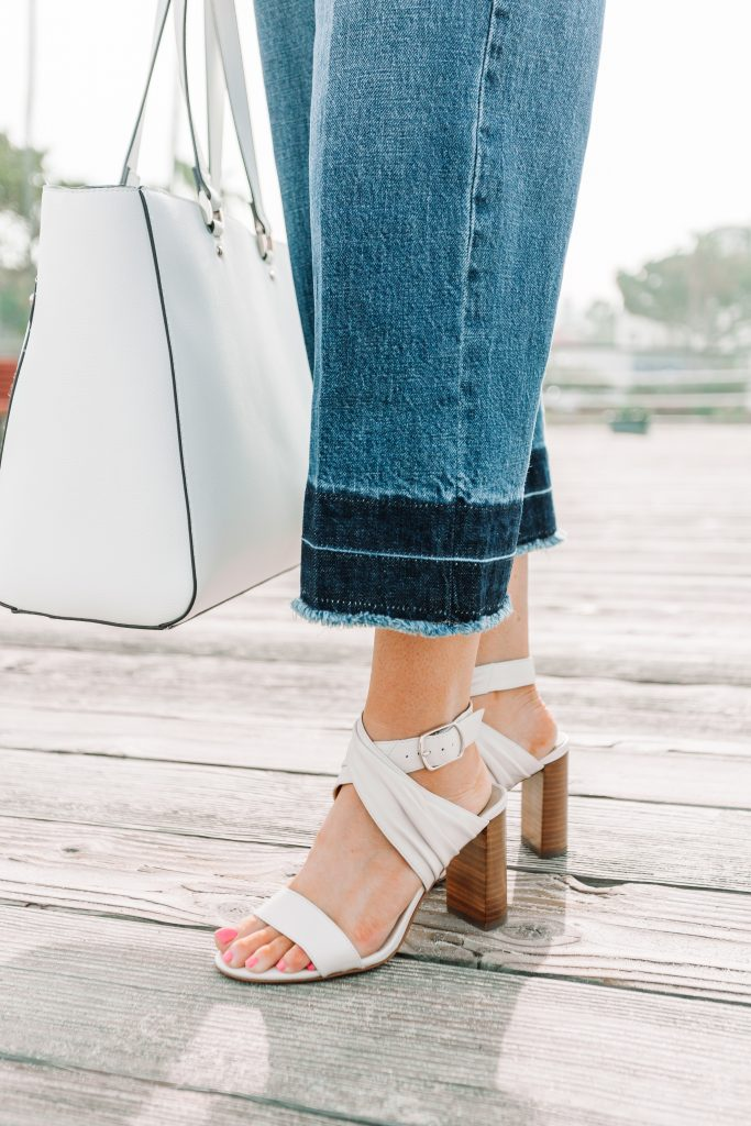 frayed denim and white heels