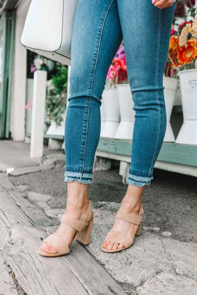 frayed denim pants and nude heels