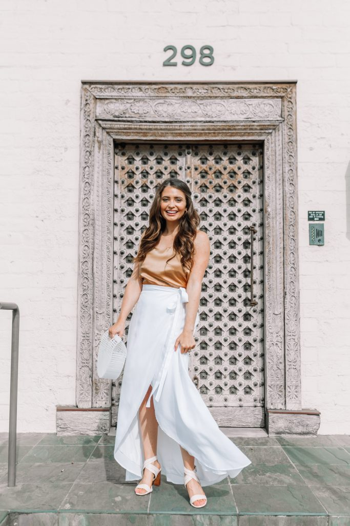 brunette girl in white maxi skirt