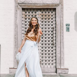brunette girl in white maxi skirt