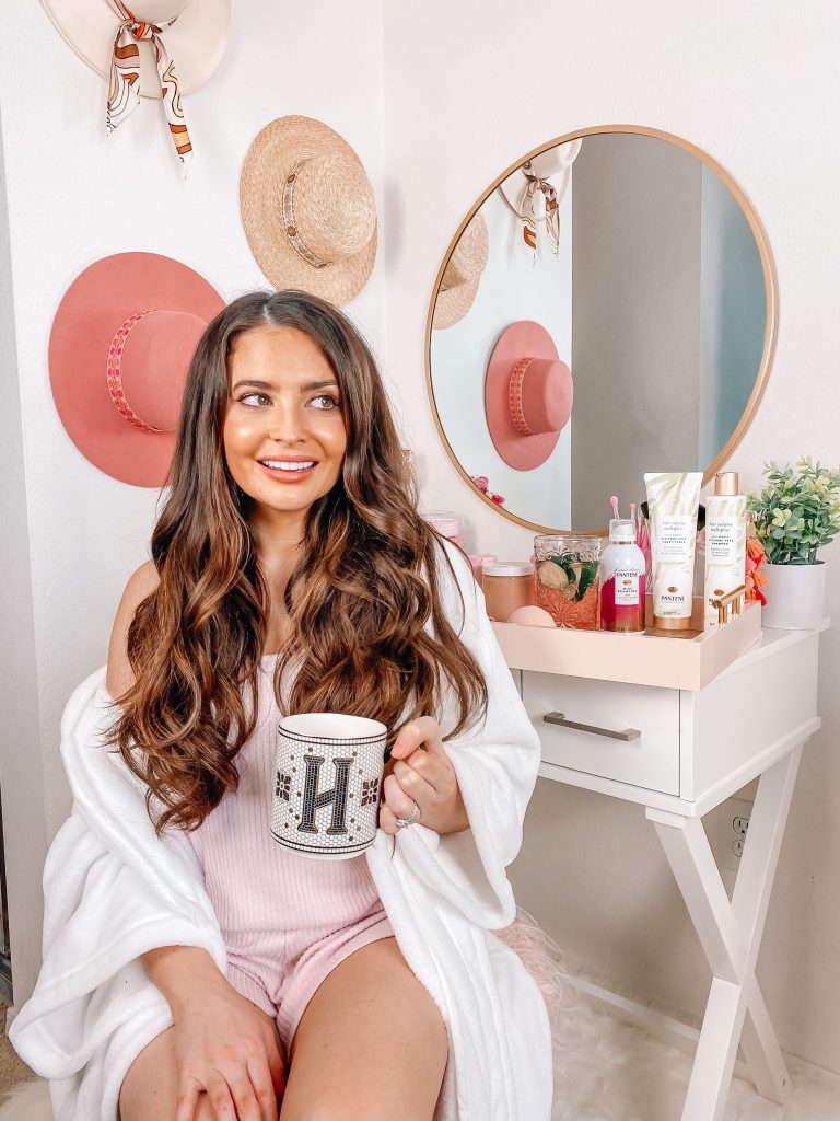 Brunette at home spa day